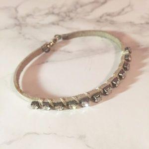 H&M Faux Leather Diamond Bracelet